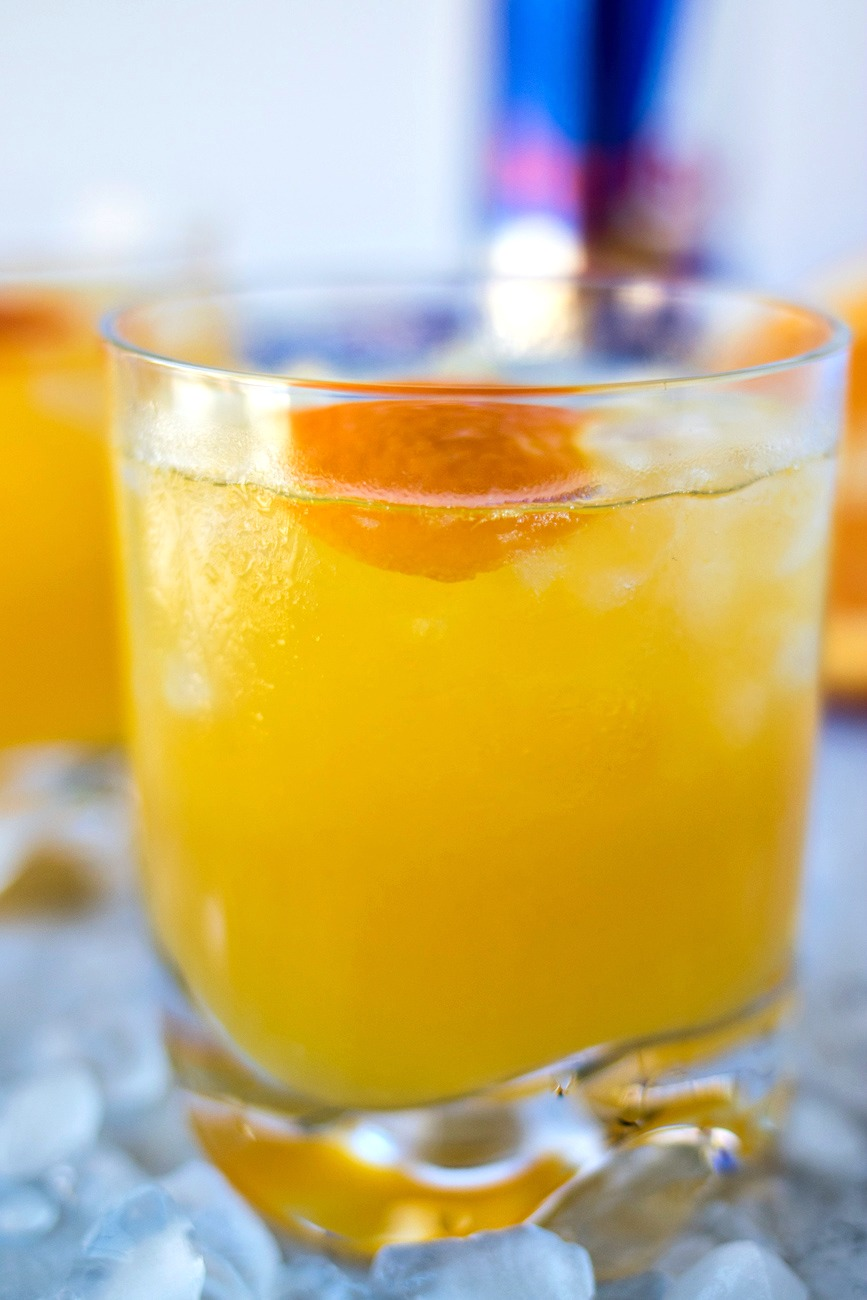 Electric Orange Pisco Sour - The traditional Peruvian drink is given a modern makeover with the addition of Red Bull Energy Drink and fresh orange juice