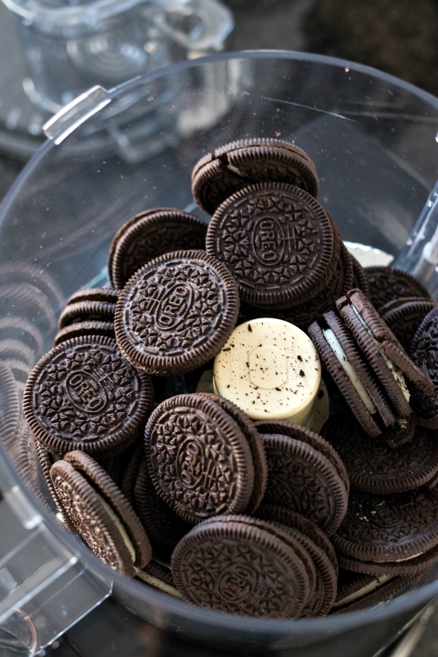 Food Processor filled with oreos