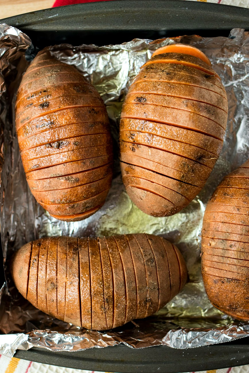 Sage & Browned Butter Hasselback Sweet Potatoes ready to be cooked