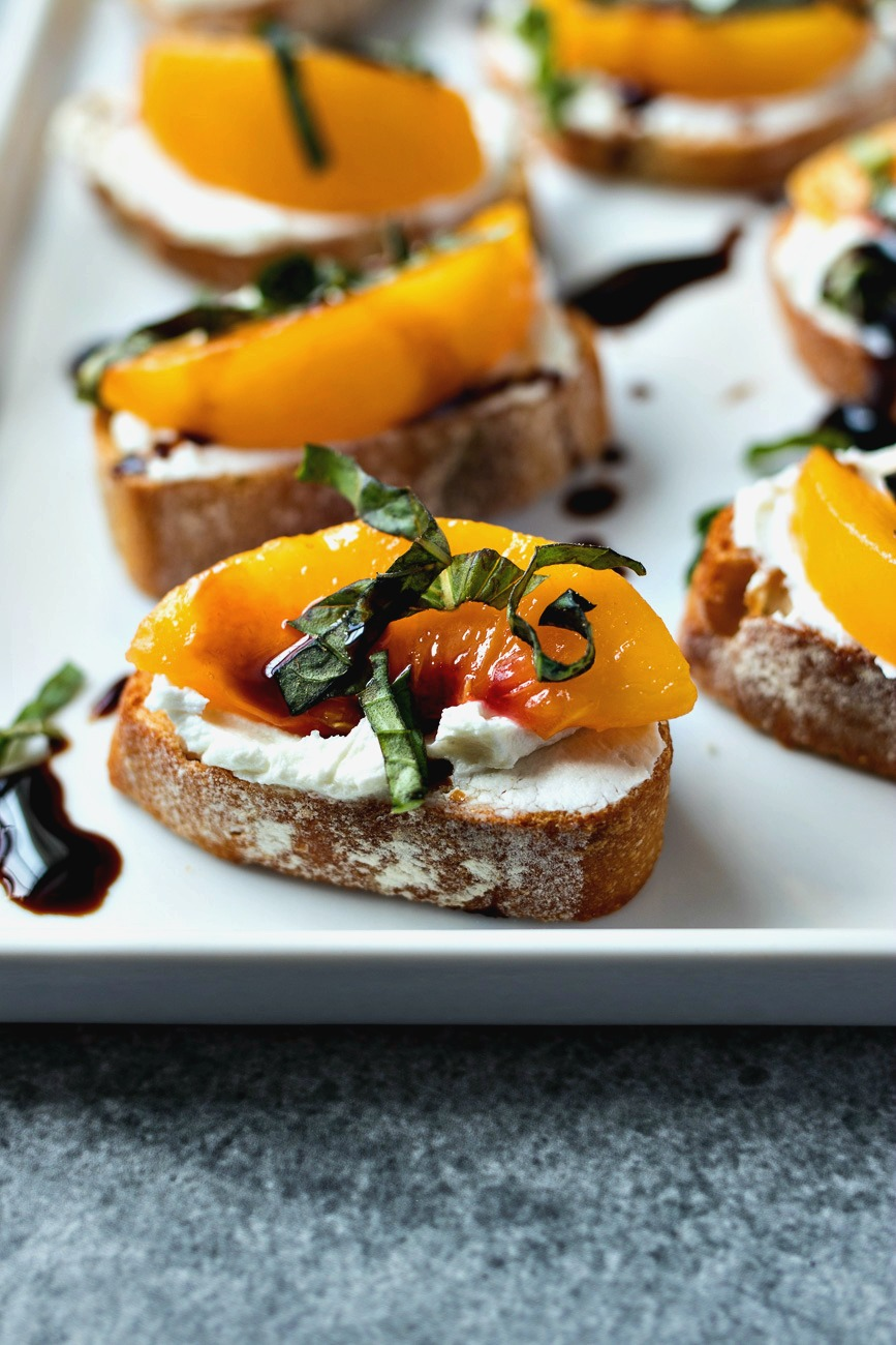 Tray of finished Peach & Goat Cheese Crostini