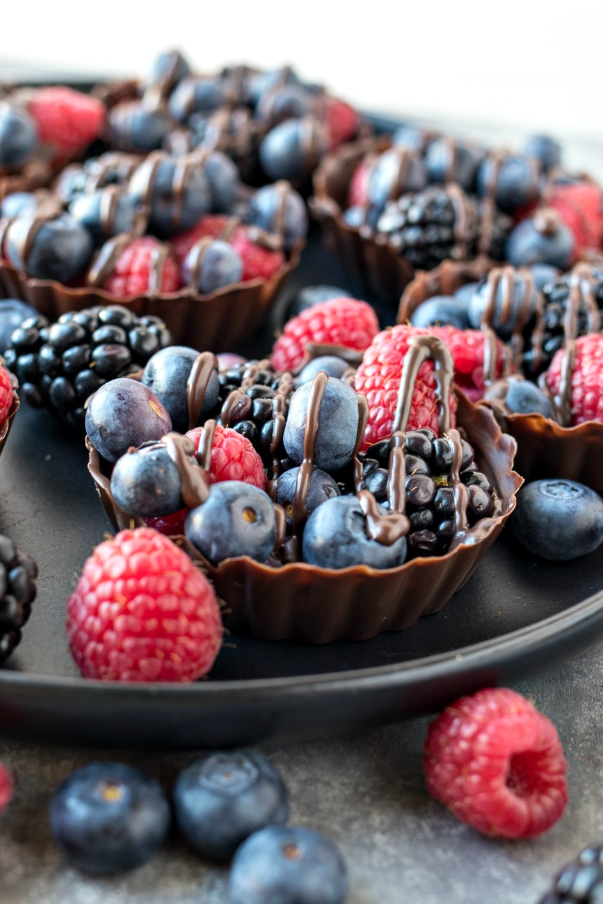 Chocolate Berry Cups drizzled with chocolate