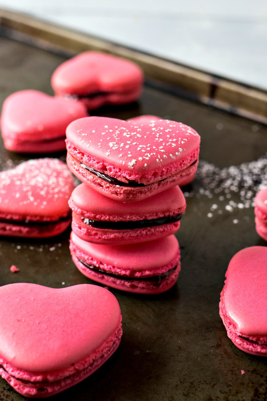 Stack of Raspberry Heart Macarons