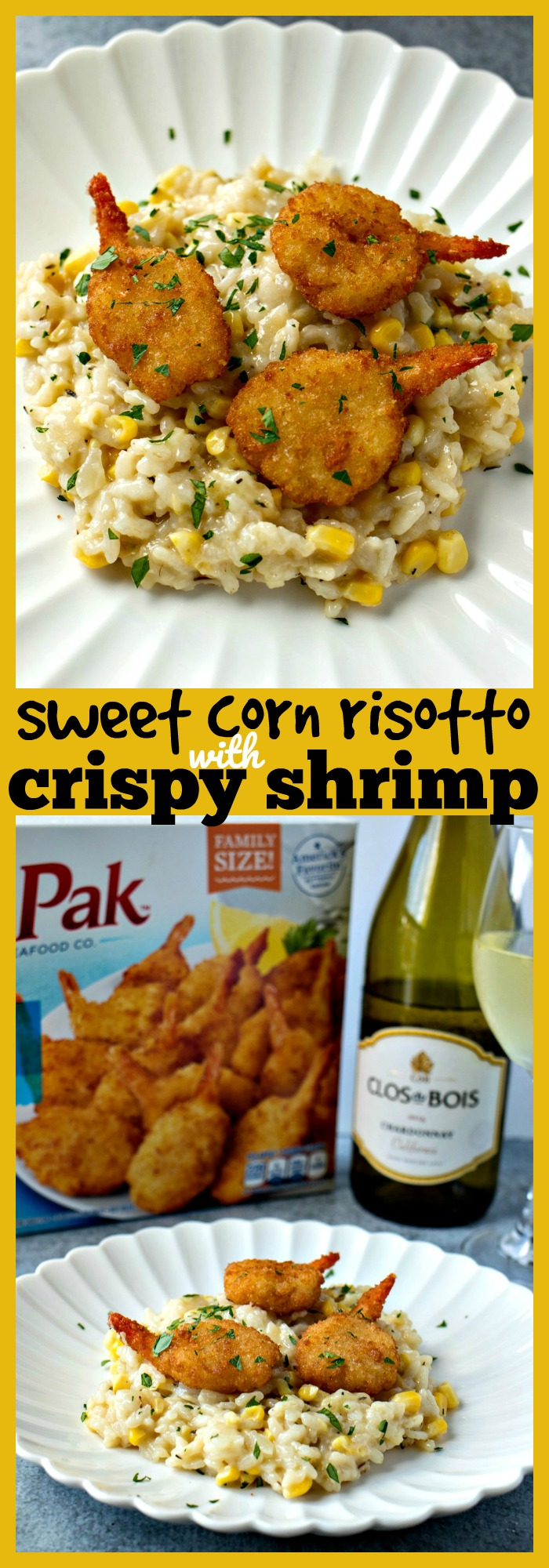 Sweet Corn Risotto with Crispy Shrimp photo collage