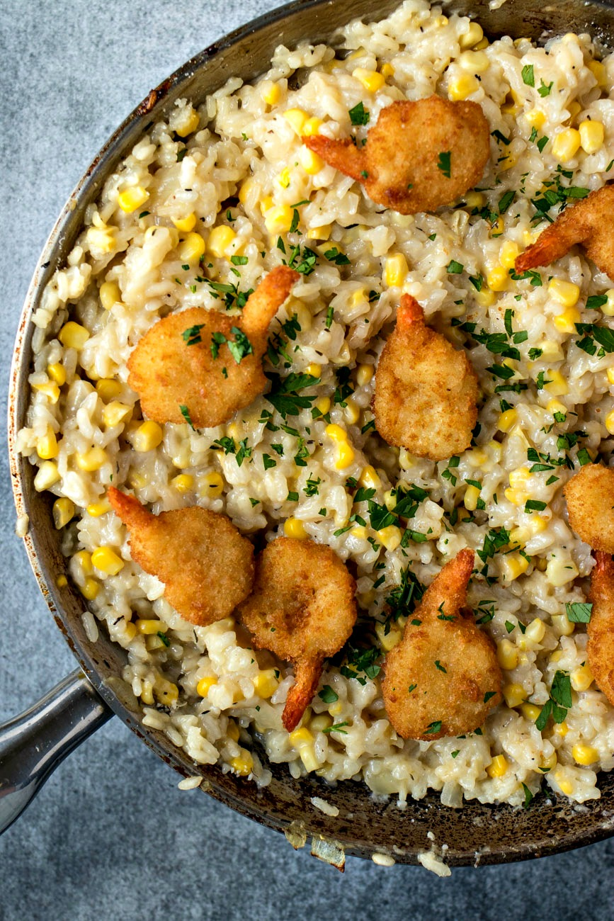 Pan of Sweet Corn Risotto with Crispy Shrimp on top