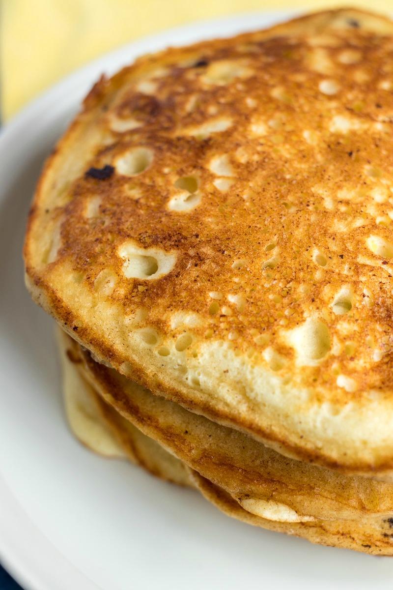 Closeup of Lemon Blueberry Ricotta Pancakes