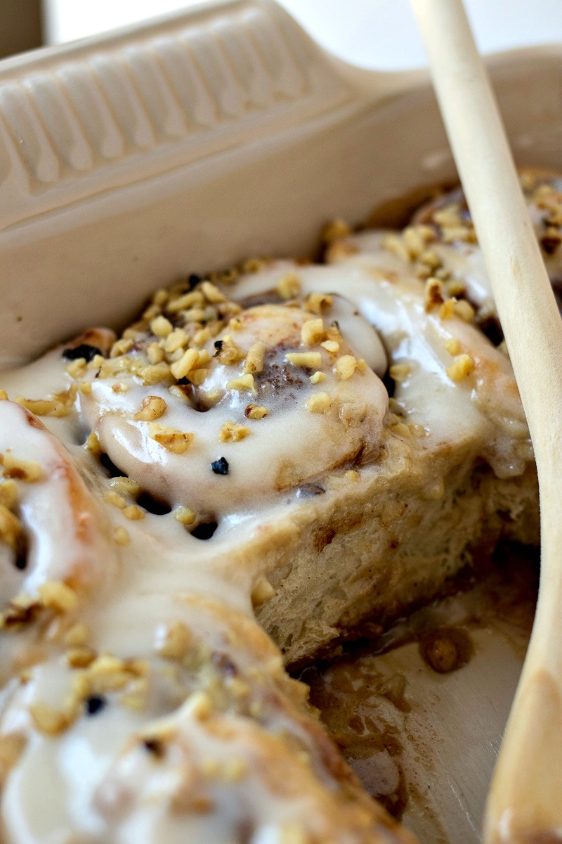 Pan of Banana Nut Cinnamon Rolls with two missing