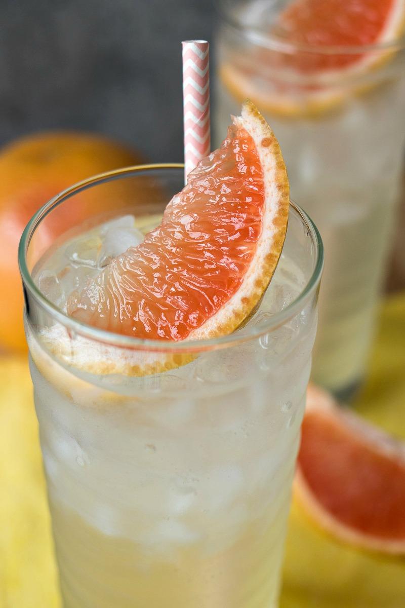 Closeup of the grapefruit slice in a Homemade Grapefruit Soda