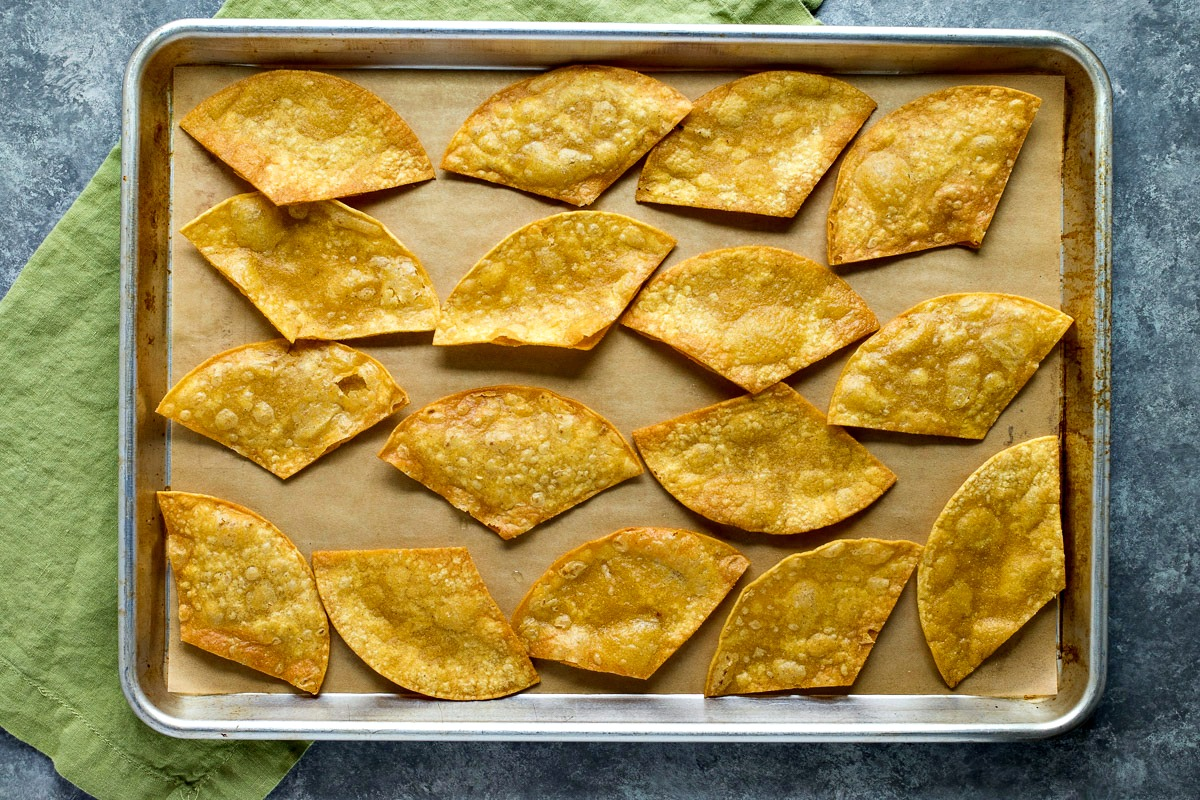 Cookie sheet of large tortilla chips