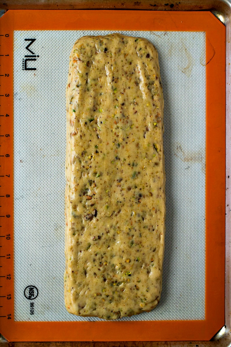Long piece of Pistachio Biscotti dough