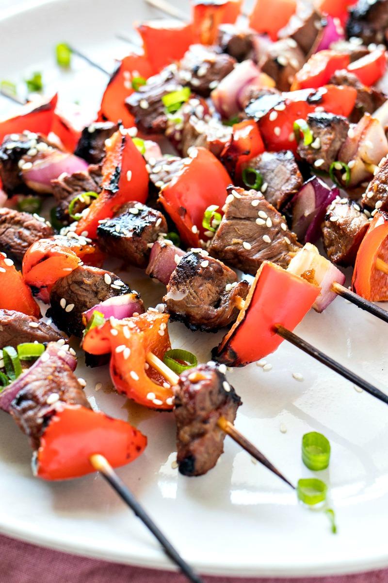 Plate of Asian Steak Skewers