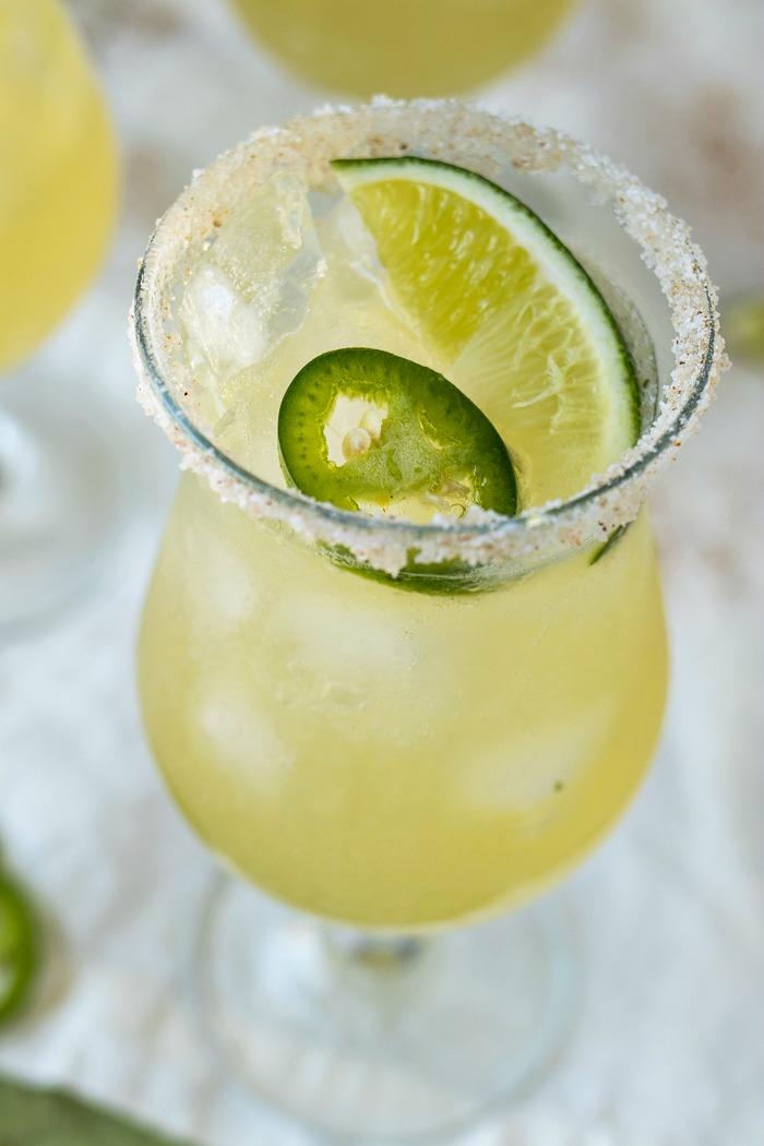 Closeup on the top of a Sparkling Jalapeño Limeade