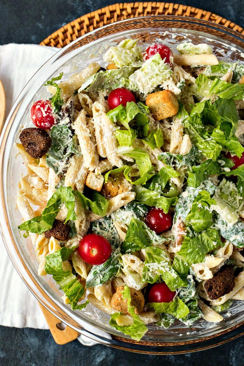 Bowl of Caesar Pasta Salad