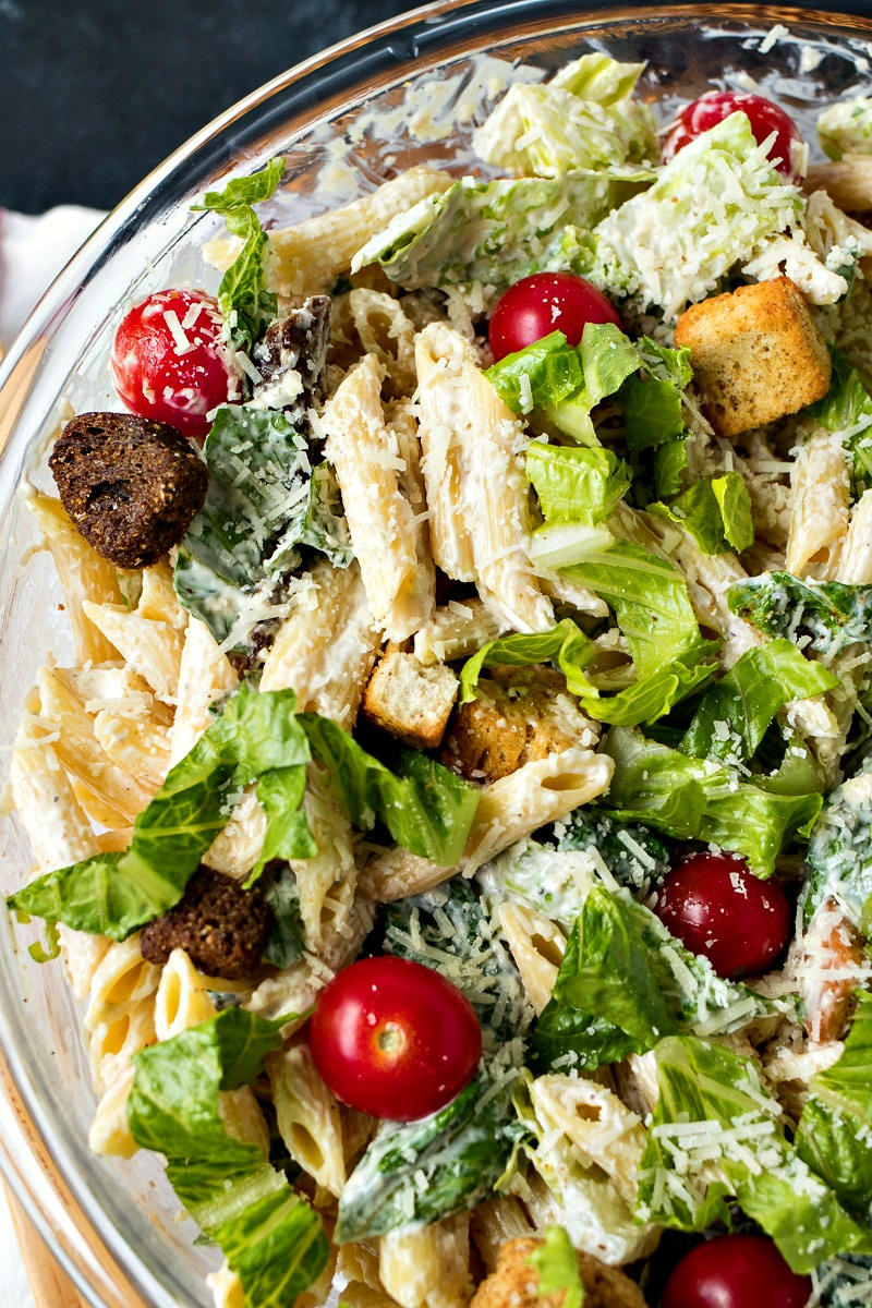 Closeup on a bowl of Caesar Pasta Salad
