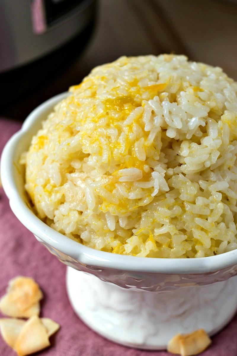 Closeup of a bowl of Mango Coconut Sticky Rice