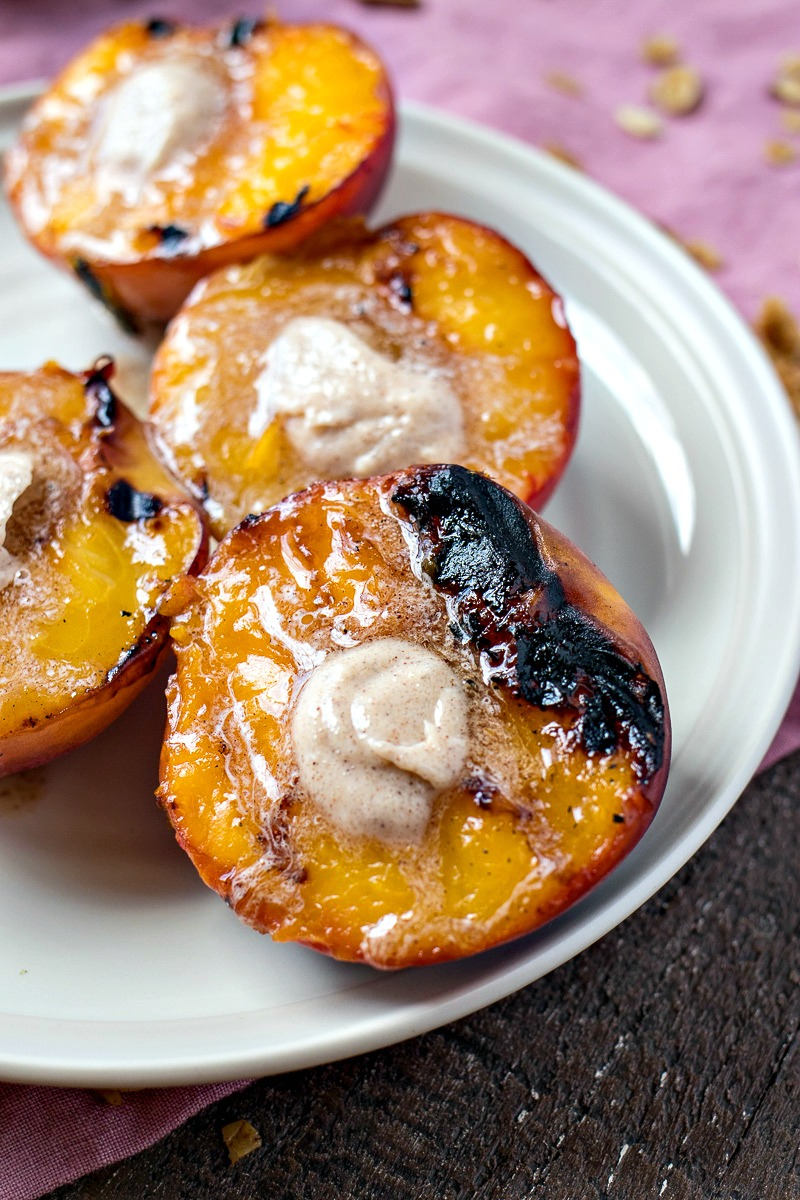 Grilled Peaches on a plate