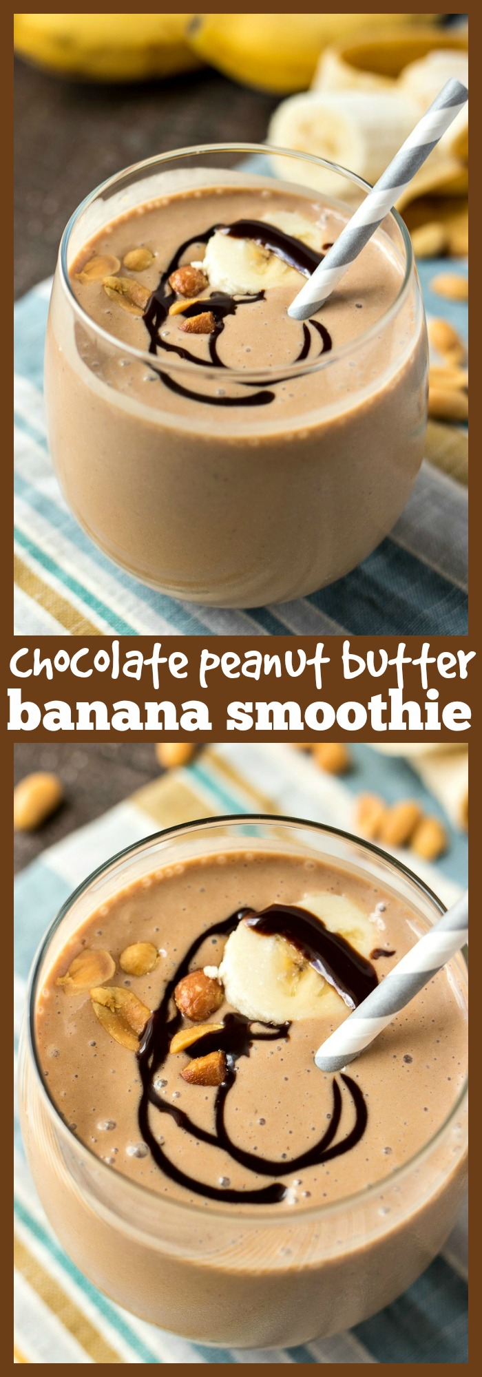 Chocolate Peanut Butter Banana Smoothie photo collage