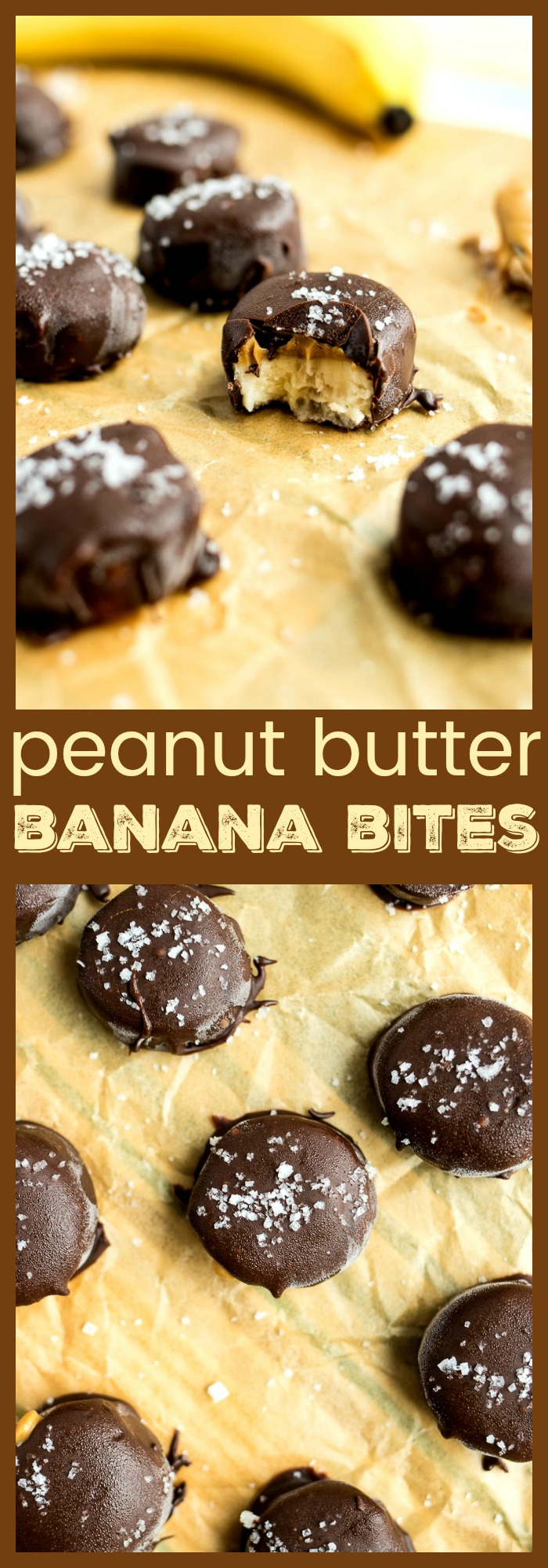 Peanut Butter Banana Bites - Sliced bananas are topped with peanut butter and dipped in chocolate to make a yummy, guilt-free treat that is great fresh or frozen!