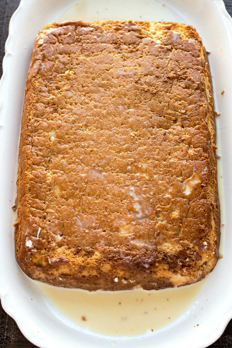 Casserole pan of cake