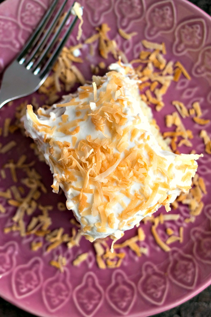 Piece of Coconut Tres Leches on a plate