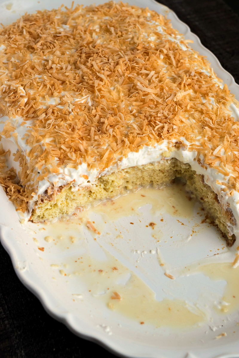 Casserole dish of Coconut Tres Leches