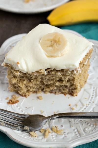 Easy Banana Cake - A moist, dense banana sheet cake topped with homemade cream cheese frosting.