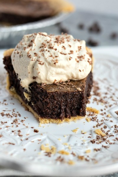 Mocha Brownie Pie - Gooey chocolate pie with a hint of espresso and topped with homemade espresso whipped cream