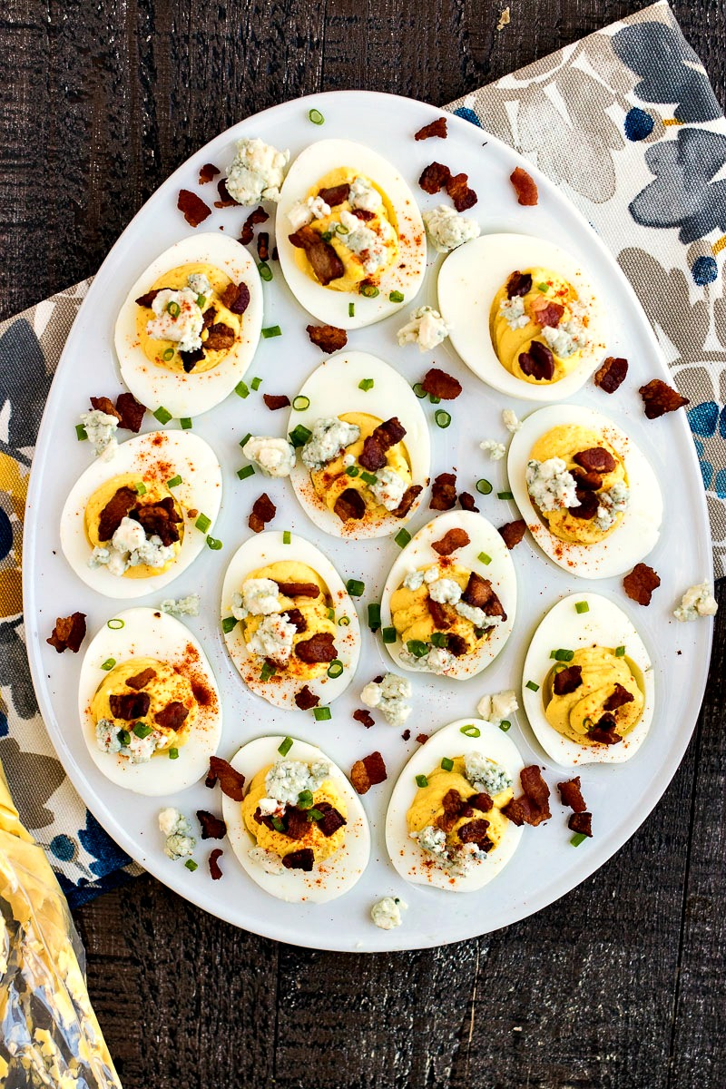 Egg shaped tray of Bacon & Blue Cheese Deviled Eggs