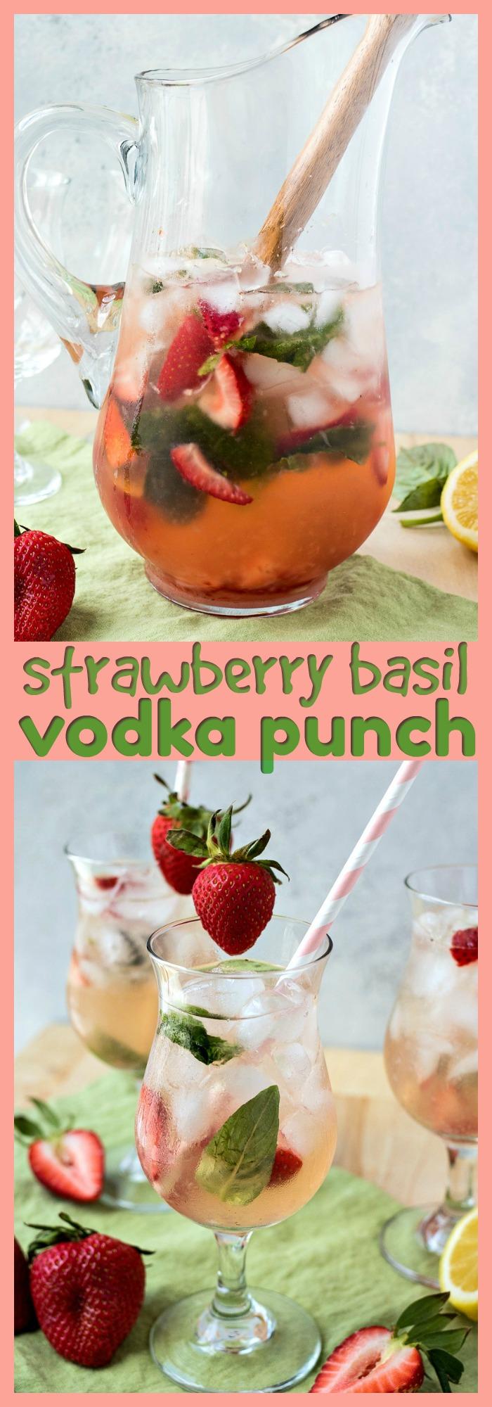 Strawberry Basil Vodka Punch photo collage