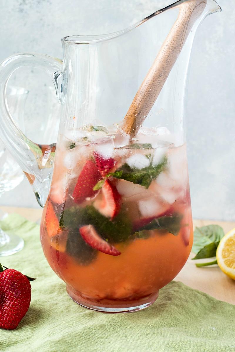 Pitcher of Strawberry Basil Vodka Punch