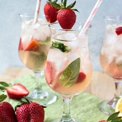Strawberry Basil Vodka Punch