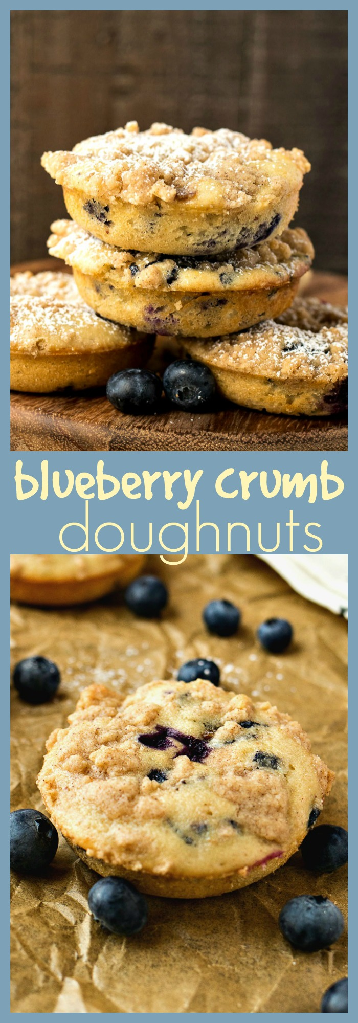 Blueberry Crumb Doughnuts photo collage