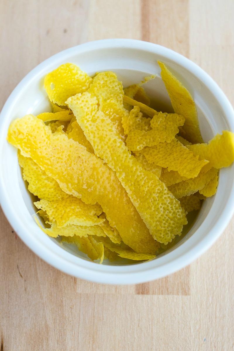Bowl of lemon peels