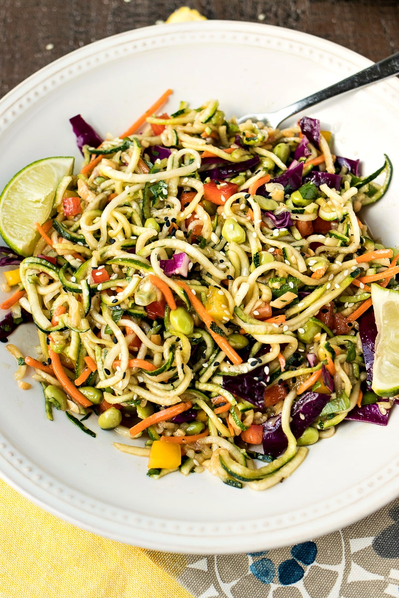 Plate of Asian Zoodle Salad