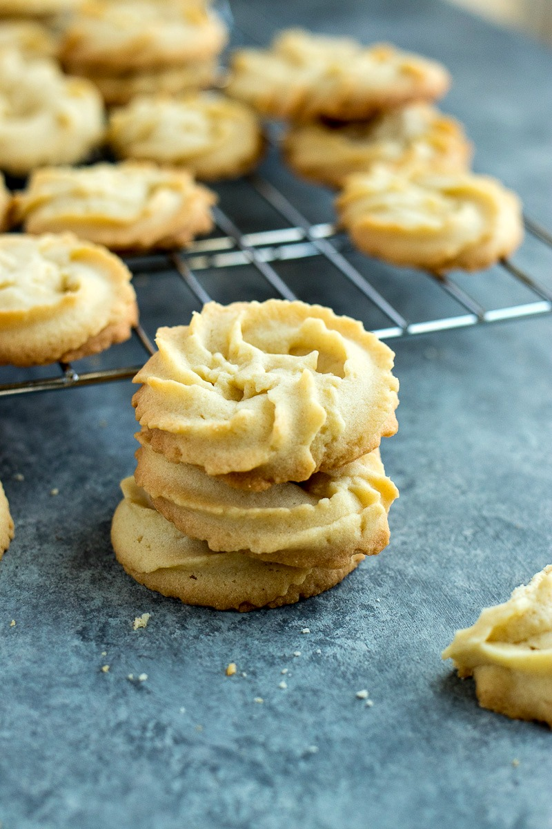Stack of cooked Danish Butter Cookies