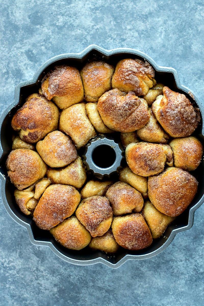 Apple Cinnamon Monkey Bread in a bundt cake pan