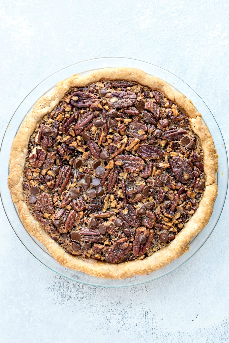 Top view of a Chocolate Pecan Pie