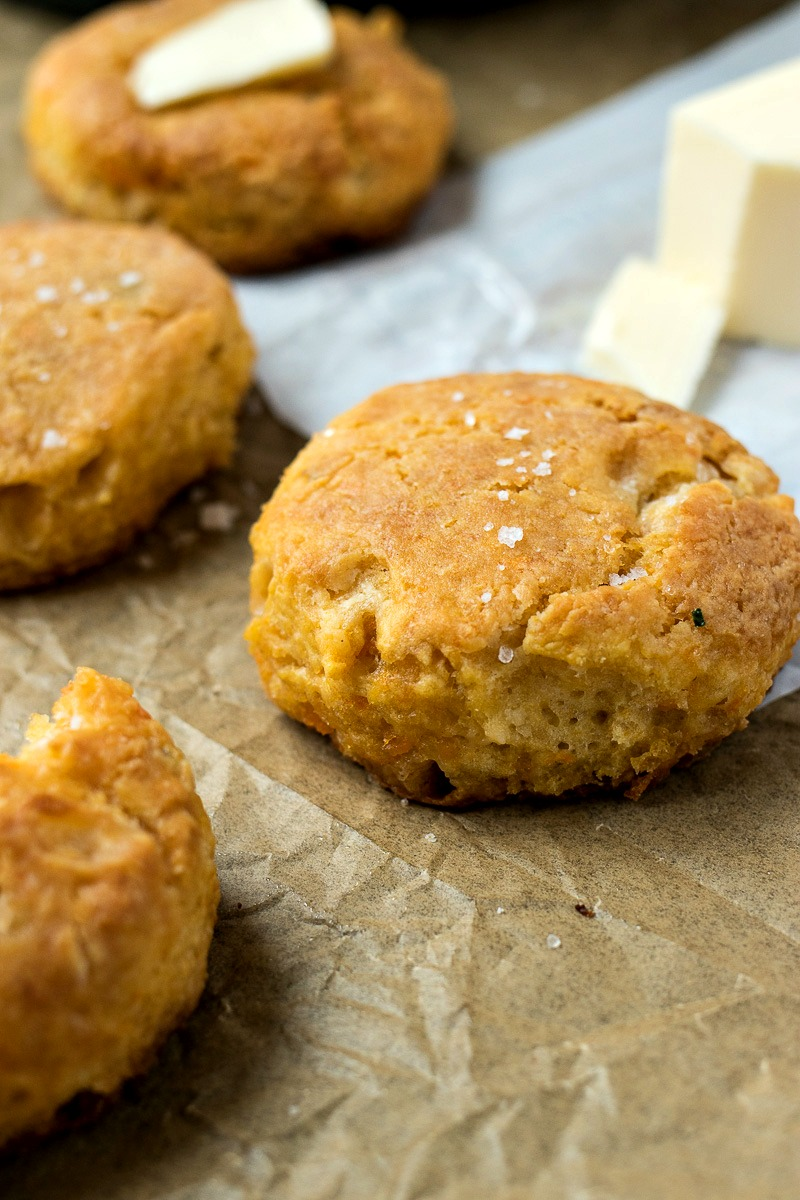 Sweet Potato Biscuits in front of a stick of butter