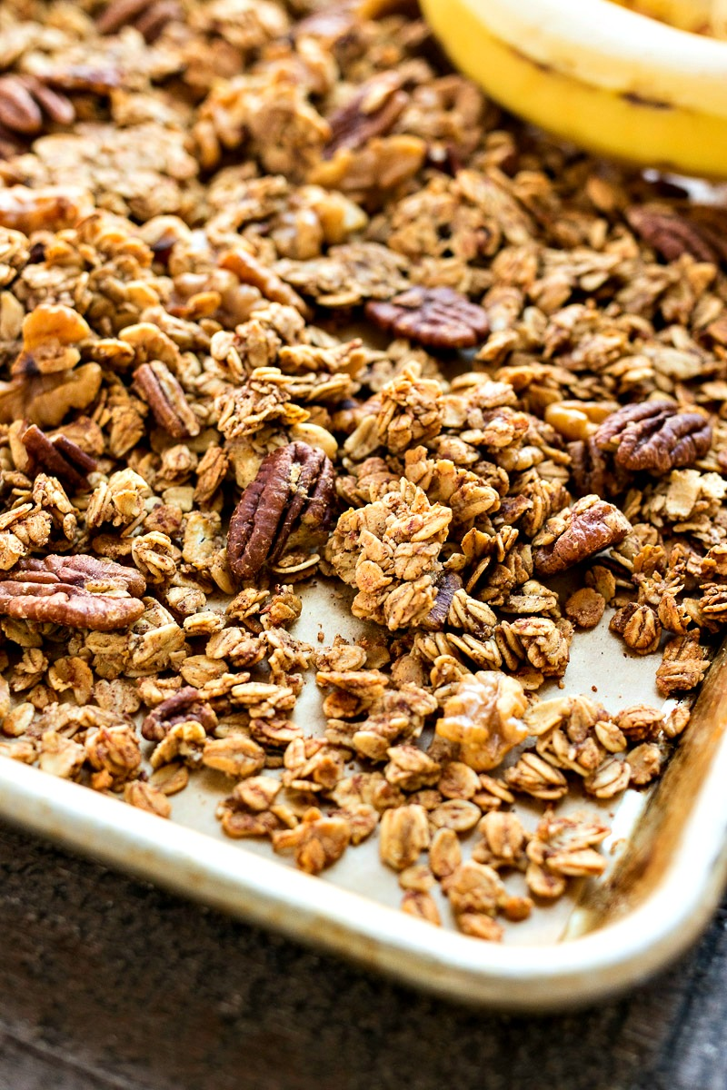 Cookie sheet of Banana Bread Granola