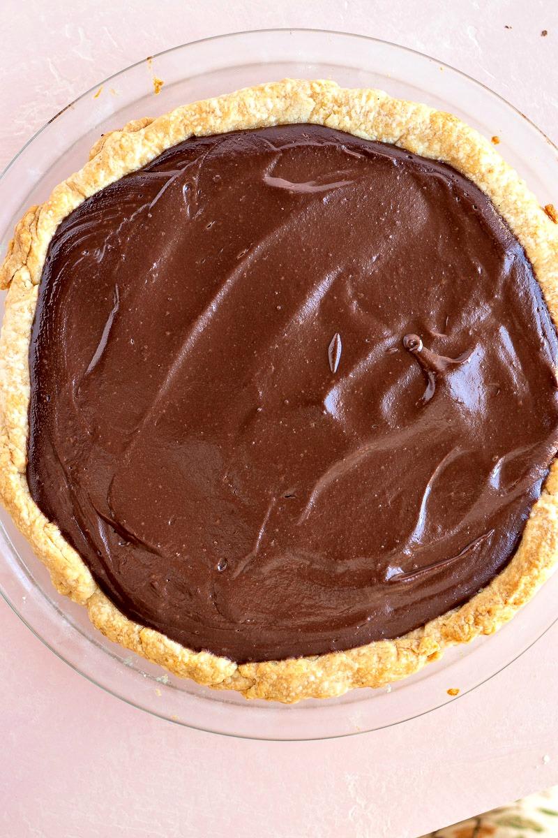 Chocolate Cream Pie before adding the cream
