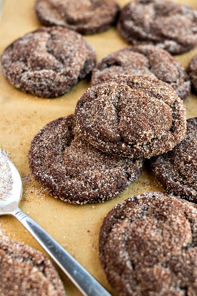 Chocolate Snickerdoodles covered in cinnamon sugar