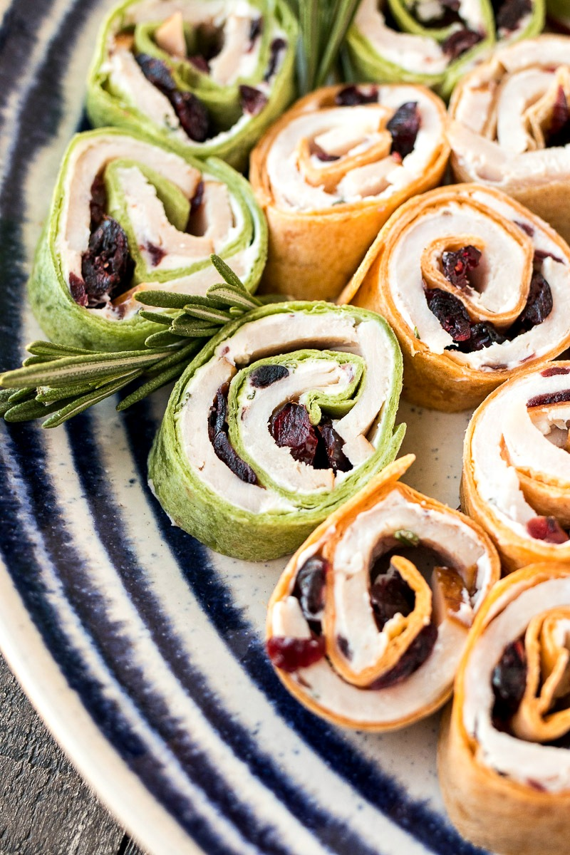 Plate of Turkey Cranberry Pinwheels
