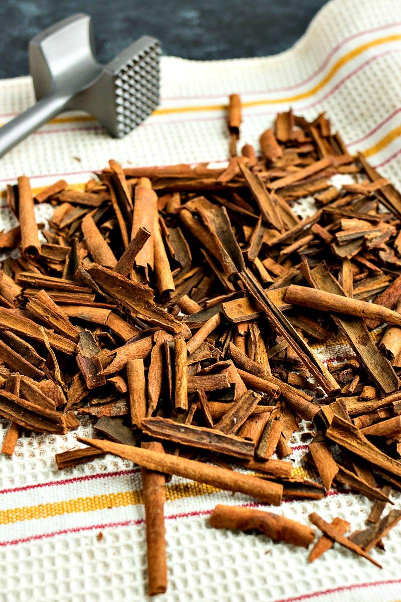 Pile of smashed cinnamon sticks