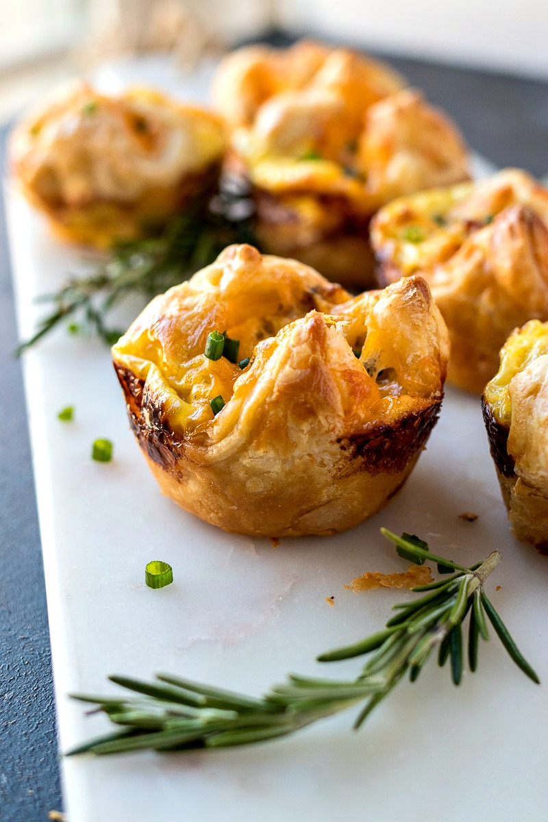 tray of Sausage, Egg, & Cheese Pastry Muffins
