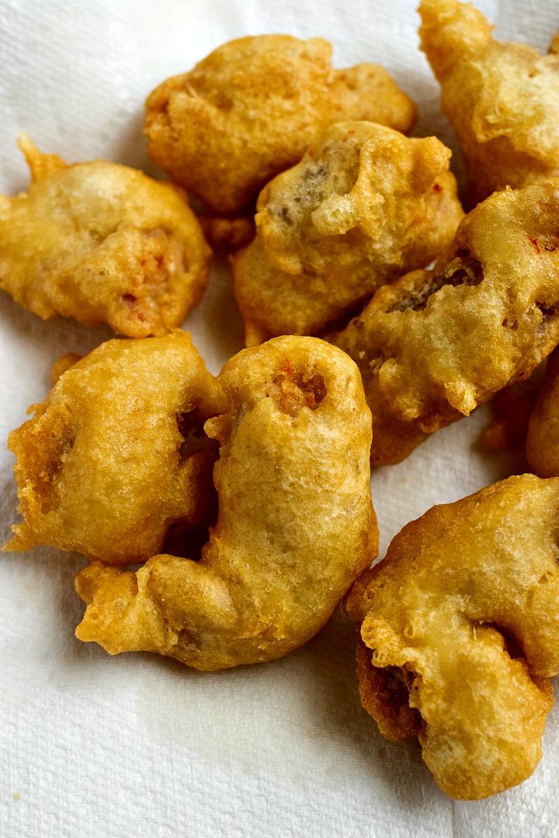 fried pieces of tempura chicken