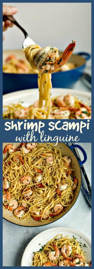 Shrimp Scampi with Linguine photo collage