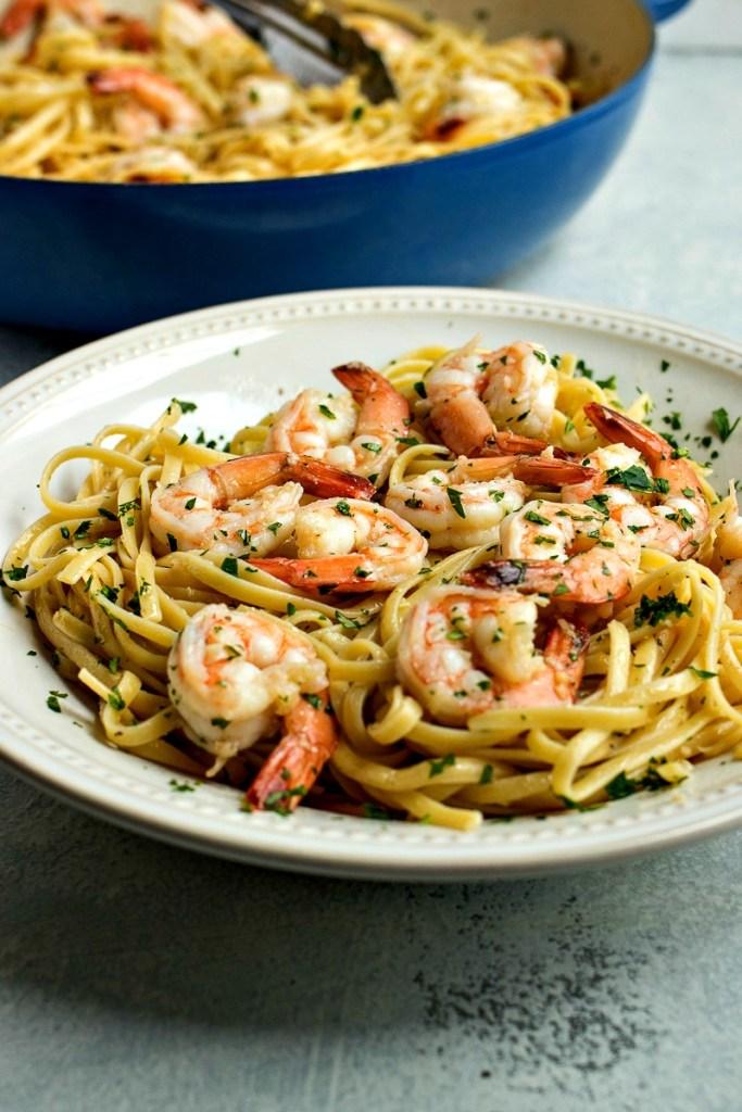 Bowl of Shrimp Scampi with Linguine