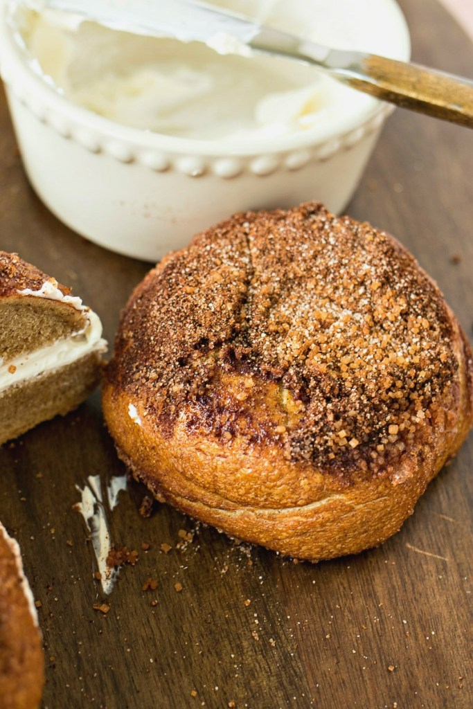Cinnamon Crunch Bagels topped with a cinnamon and sugar mixture
