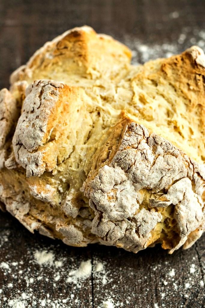 Closeup on the loaf of irish soda bread