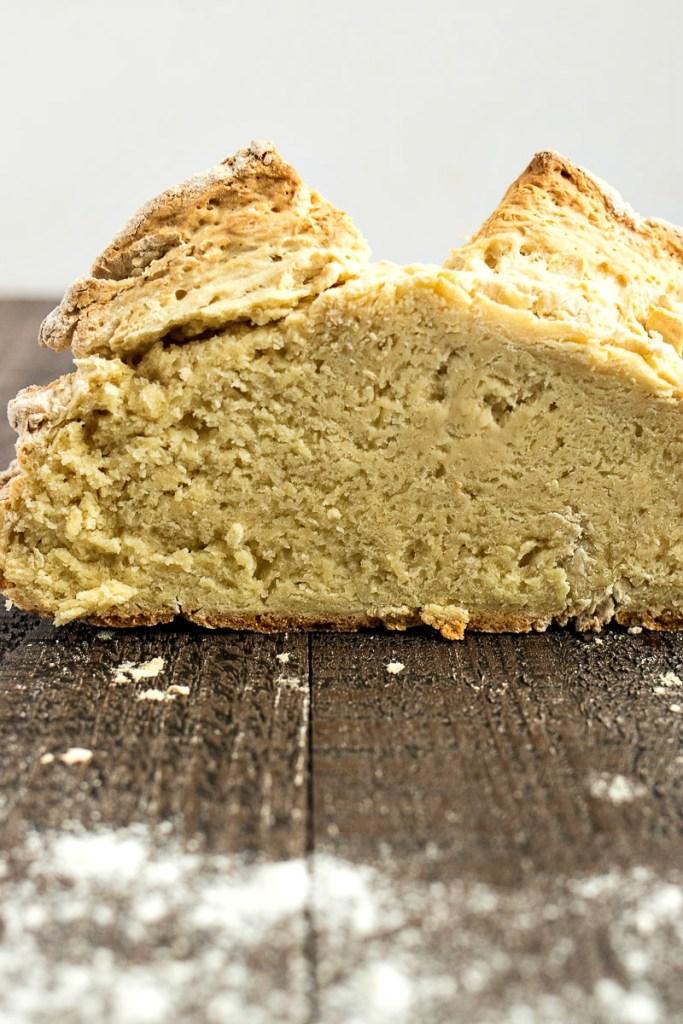 Irish soda bread loaf cut in half