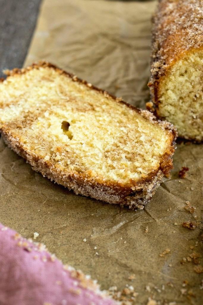 Slice of Cinnamon Swirl Doughnut Loaf showing the cinnamon swirled through the inside